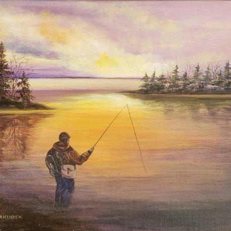 Beata_Jakubek_Gone Fishing_acrylic_14x20x1_$200_framed