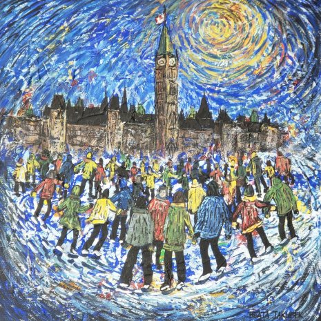 Beata_Jakubek_Skating_in_Ottawa_acrylic_12x12x15__