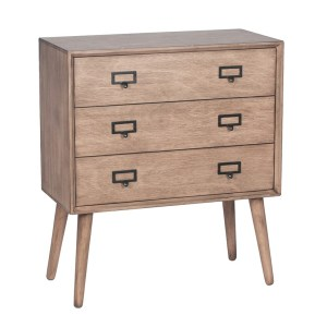 Desert Brown Small 3 Drawer Lamp Table