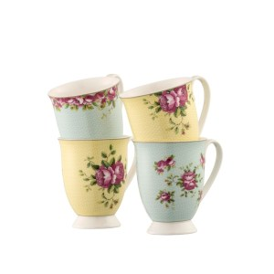 Belleek Aynsley Archive Rose Mugs Set