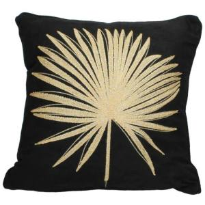 Black Cushion With Golden Plant