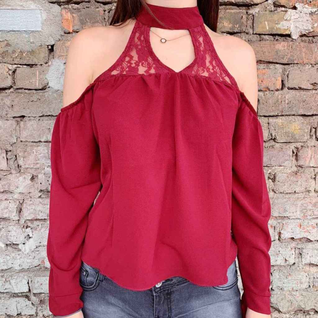 Summer Style Bluse weinrot 1