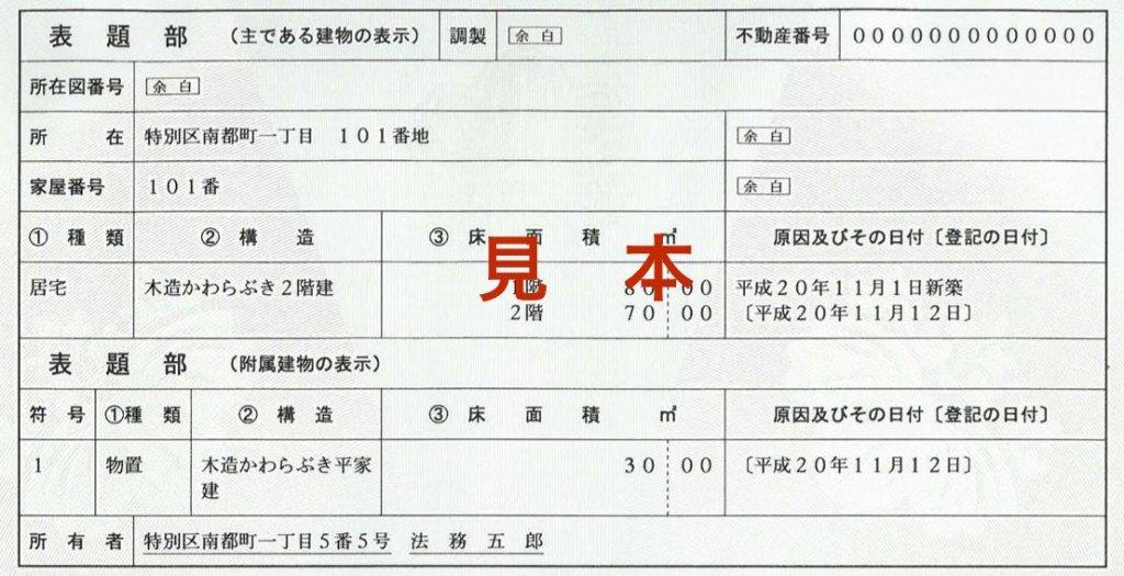 新築時の登記費用を節約するために。登記簿謄本の表題部