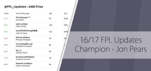16/17 FPL Updates Champion Jon Pears