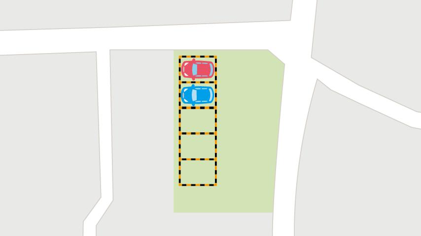駐車場にトラロープで枠線を作ったイラスト
