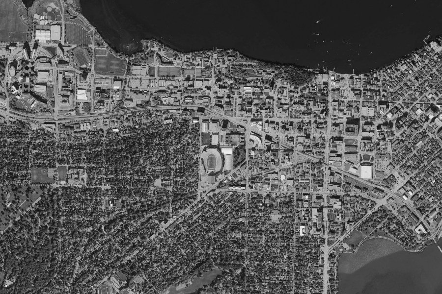 Maps     Campus Planning   Landscape Architecture     UW   Madison Campus Aerial Map   2015 b w