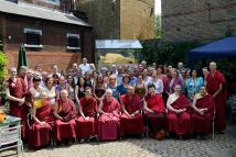 Sangha members in Jamyang London Court Yard Cafe
