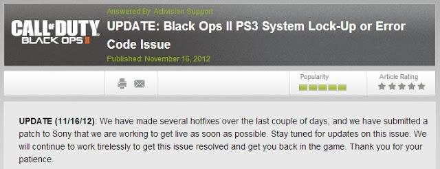 [BO2] パッチ:PS3版『CoD: Black Ops 2』の不具合修正パッチ、ソニーに申請中