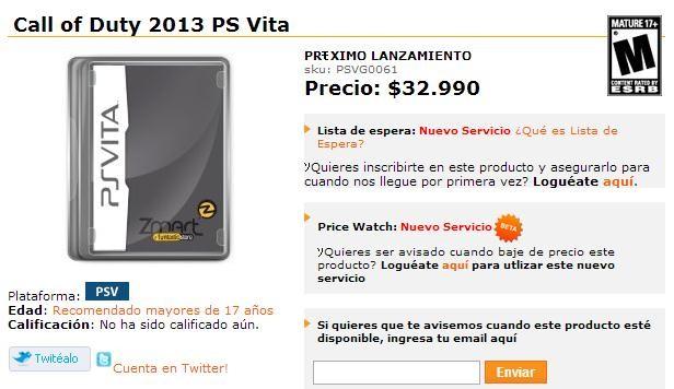 新作:「Call of Duty:2013 PS Vita」、2013年11月に発売?