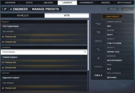 Battlefield 4 : ロードアウトのプリセット機能が追加に、本日から