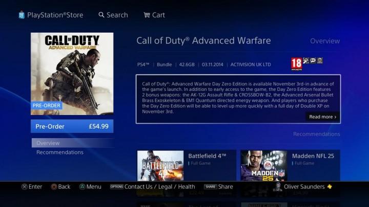 CoD:AW:PS4・DL版のサイズは42.6GB、XOne版より3GB減