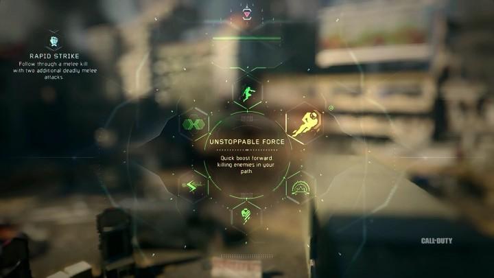 Unstoppable Force:前方に高速でブーストを行い、通り道の敵をキルする。