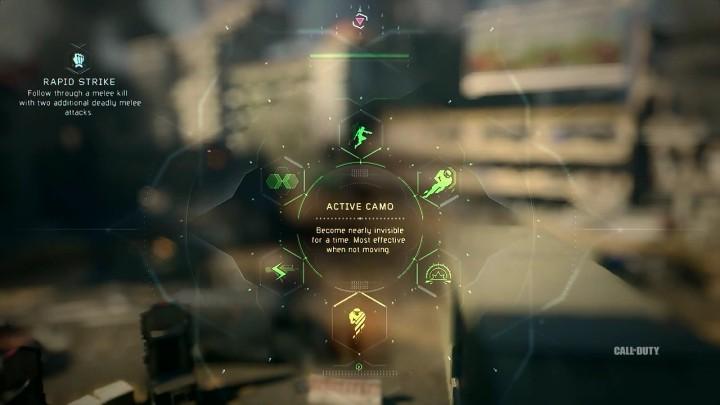 Active Camo:一定時間ほぼ見えない状態になる。動いていない時に最も効果を発揮する。