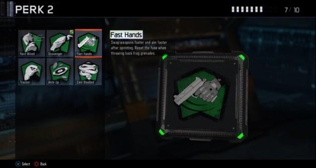 ファストハンド:武器の切り替えと、スプリント後の構え動作が高速化。