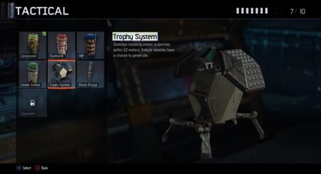 トロフィーシステム:10メートル以内の敵の発射体を排除する。ビークルのミサイルは貫通する可能性がある。