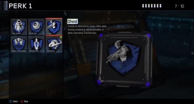 ゴースト:移動中、ボムの設置や解除中、スコアストリークの操作中に敵のUAVに探知されなくなる。