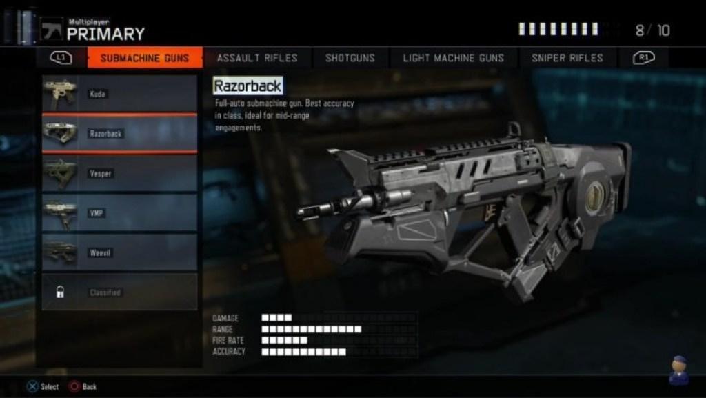 Razorback:SMGの中で最も正確な銃であり、中距離運用が理想的である