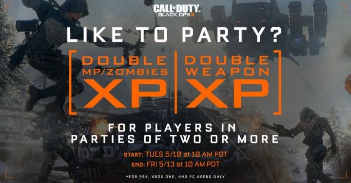 "CoD:BO3:""パーティー限定""のダブルXP & ダブル武器XP開催、5月11日午前2時から"