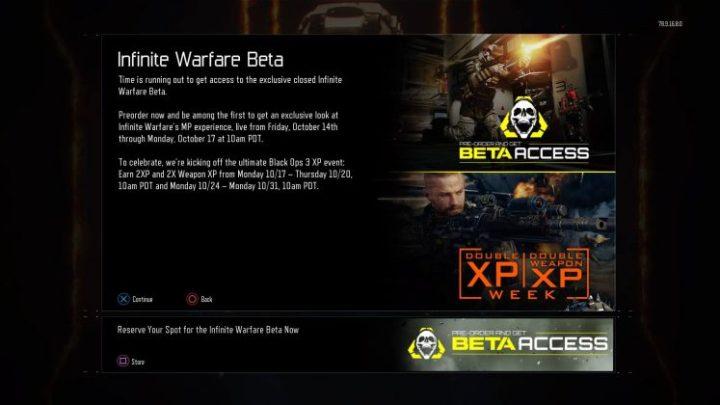 CoD:BO3:『CoD:IW』ベータテスト直後にダブルXPと武器ダブルXPを同時開催
