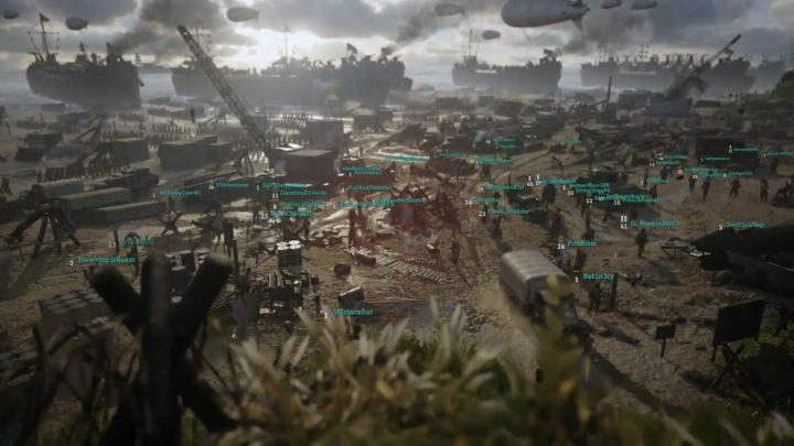 CoD:WWII:マルチのソーシャルスペース「 ヘッドクオーター」の様子。40名以上の味方が集合