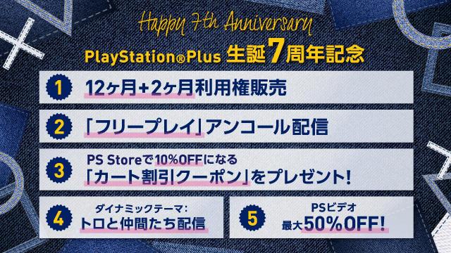 PS Plus:生誕7周年記念キャンペーン開催、お得な利用券販売や「フリープレイ」アンコール配信など
