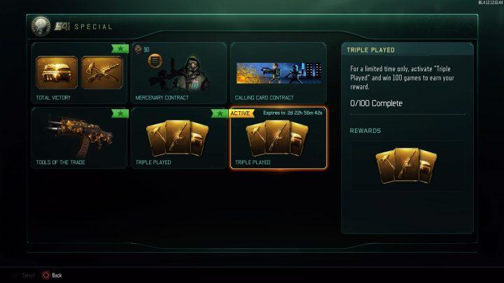 CoD:BO3:100勝で武器2種とレアドロップ10個が貰える「トリプルプレイ」契約登場、プレイリスト「Nuk3jacked」も