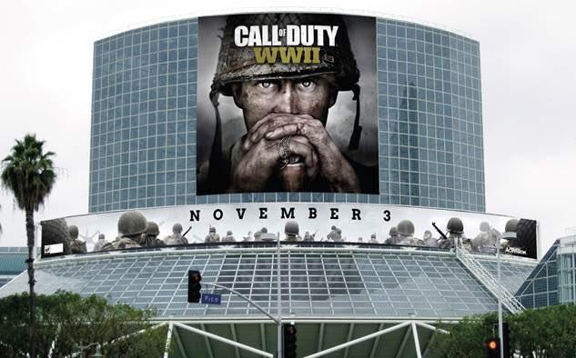 CoD:WWII:E3ではマルチだけではなくキャンペーンのゲームプレイも登場、会場には巨大垂れ幕も