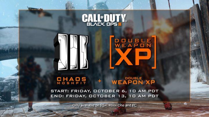CoD:BO3: モード「カオスモッシュピット」でのダブル武器XP開始、10月14日午前2時まで