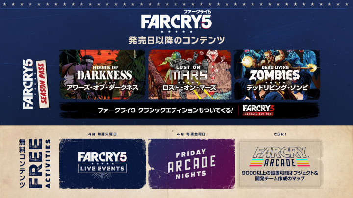 ファークライ5:シーズンパスに含まれる3種のDLC「ベトナム」「SF」「ゾンビ」のプレイ映像公開、豪華特典もチェック