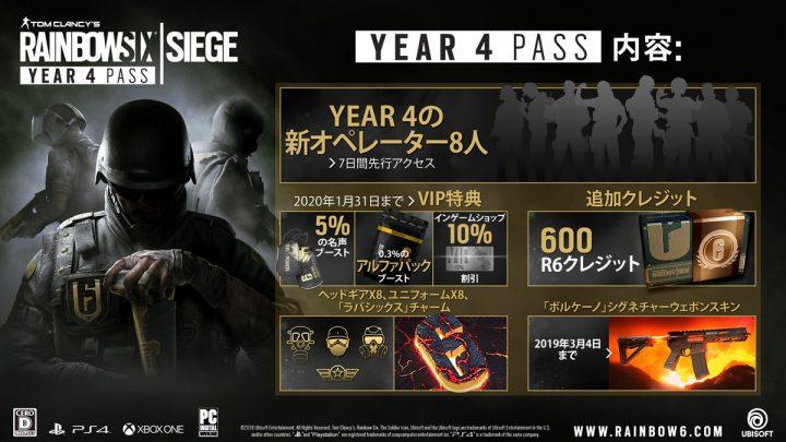 レインボーシックスシージ YEAR 4 PASS発売開始!