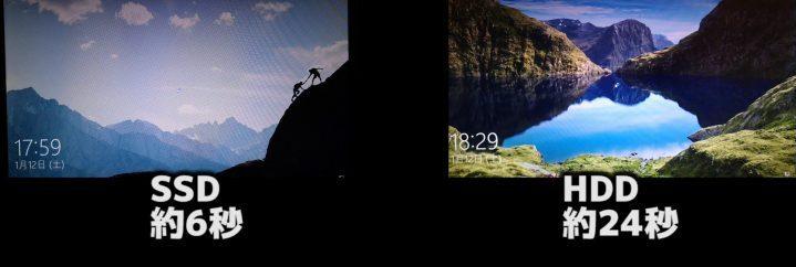 SSD HDD Windows 10の起動速度比較