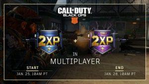 CoD:BO4:マルチプレイヤーのダブルXP & 武器ダブルXP開催、1月