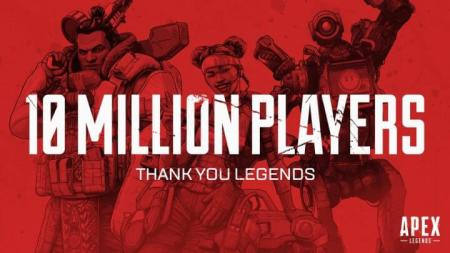 Apex Legends: 配信から72時間で総プレイヤー数が1,000万人を突破、同時接続数は100万人に