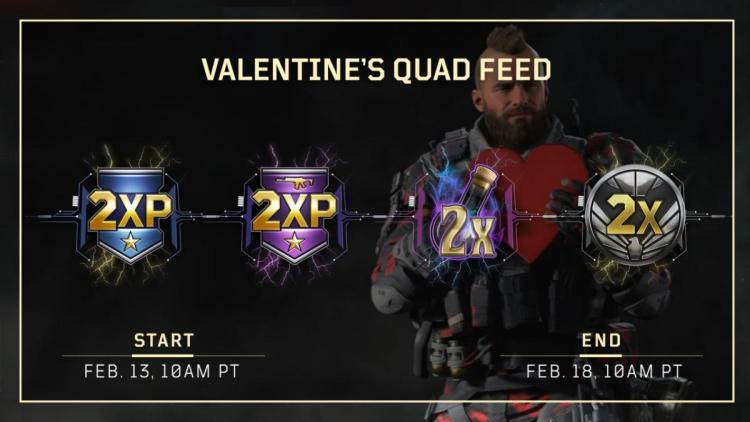 CoD:BO4:バレンタインを祝うダブルXP・ダブル武器XP・ダブルNP・ダブル戦功同時開催、2月19日まで(全機種)