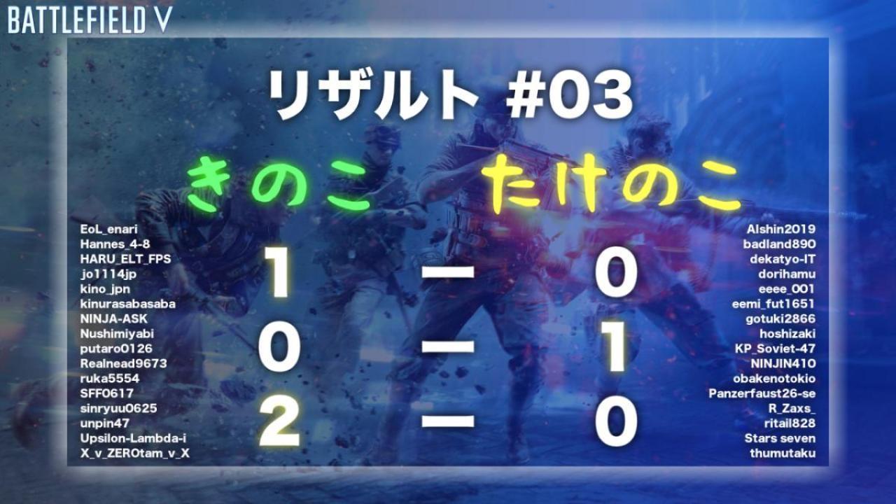 BFV:「EAA!! PS4版BFV エンジョイカップ」#02 & #03結果報告 & 次回参加者の募集開始