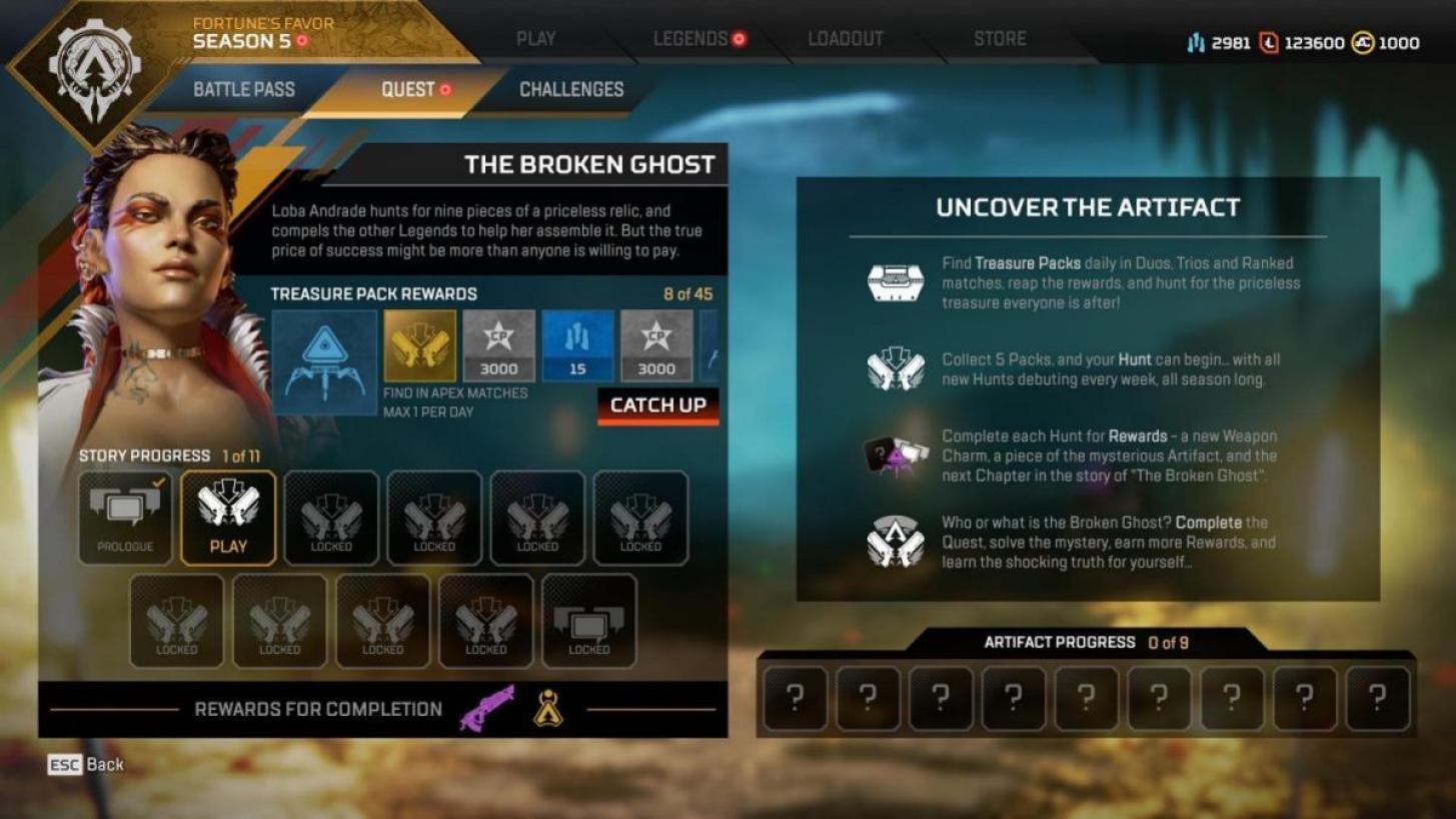 """エーペックスレジェンズ: 隠されたストーリーを探求するクエスト""""The Broken Ghost"""" をプレイする上で理解しておきたい「トレジャーパック」と「ハント」の仕組みを解説"""