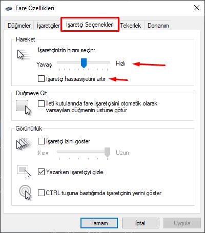 Aim geliştirme Windows ayarlari