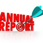 Annual Report arrow in word to illustrate good or great financial performance for the past year in earnings, profit or revenue from increased sales