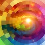 Abstract colorful shining circle tunnel lined background