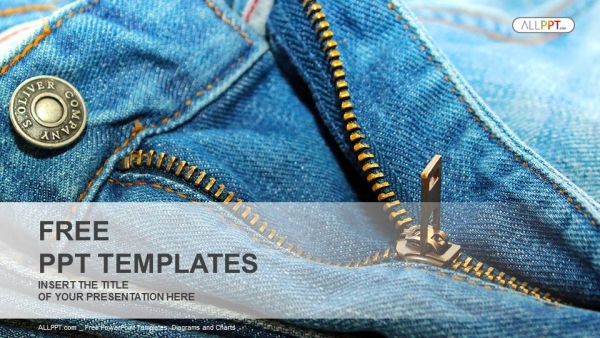 Closeup Of Zipper On Jeans PowerPoint Template