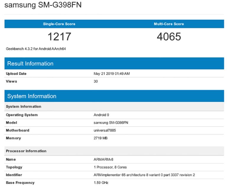 Galaxy Xcover 5 lộ cấu hình trên Geekbench