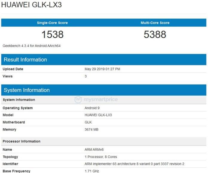 Huawei Nova 5i lộ cấu hình trên Geekbench