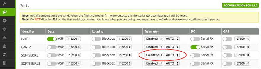 frsky smart port telemetry setup
