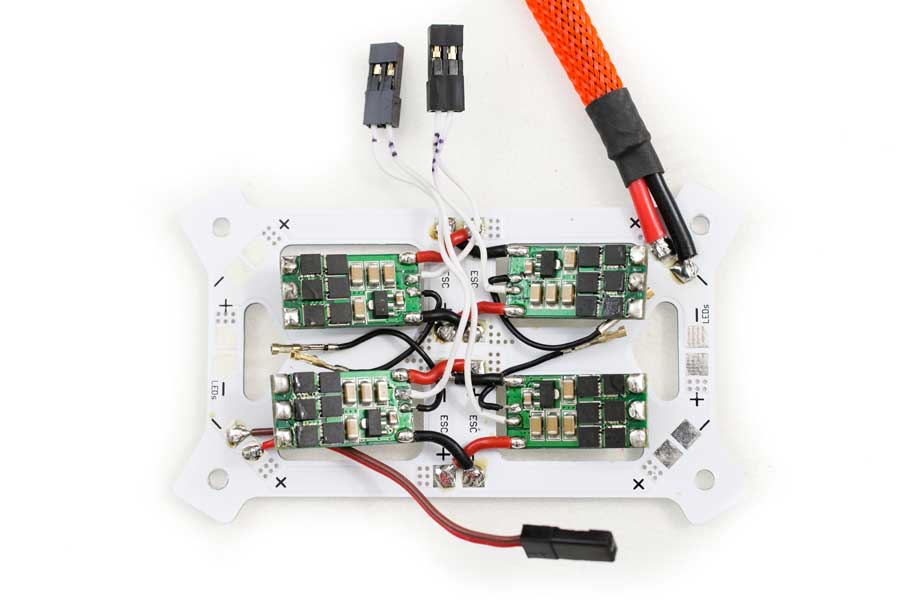 Learn How To Build A Lumenier Qav250 Quadcopter Flightclub Fpv. Signal Wires Soldered To Their Corresponding Escs Battery Cable Installed And A 2 Pin Connector Directly On The Pdb. Wiring. Drone Esc Wiring Diagram At Scoala.co