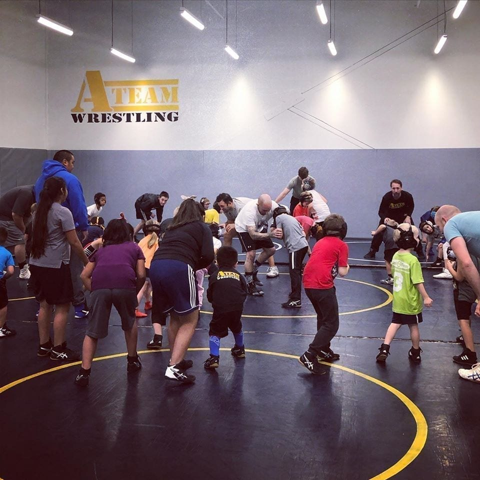 A children's wrestling class