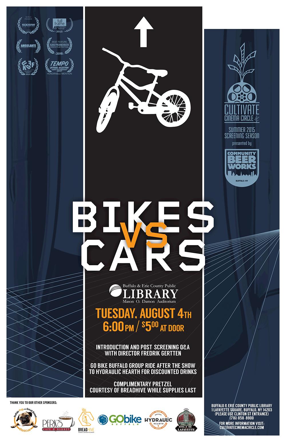 """Affiche du film """"Bikes vs cars"""""""