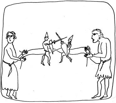 Hommes avec marionnettes:warrior puppets Hortus deliciarum dessin