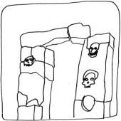 Porte avec crânes:gate with skulls Antique Europe dessin