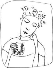 femme baroque à la grenade dessin