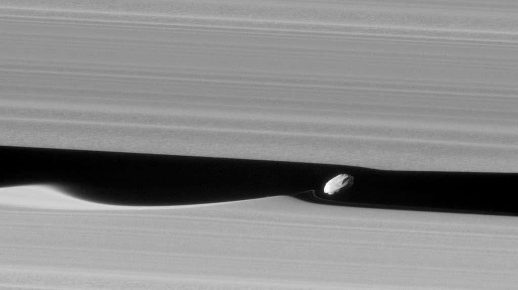 Le petit satellite Daphnis creuse des vagues dans les anneaux qu'il frôle. © Nasa, JPL-Caltech, Space Science Institute
